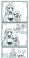 Photo Bomb (ink sans x ink frisk wedding) by jjaydazo
