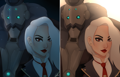 Overwatch : Ashe and Bob - Day and Night by MinEevee