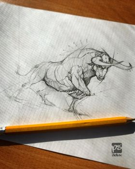 Bull Sketch Psdelux by psdeluxe