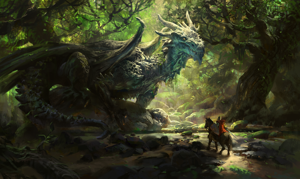 Joseph, the Ancient  forest dragon by MikeAzevedo