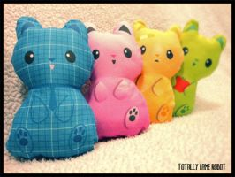 Printed fabric kitty plushies by Red-Revolver