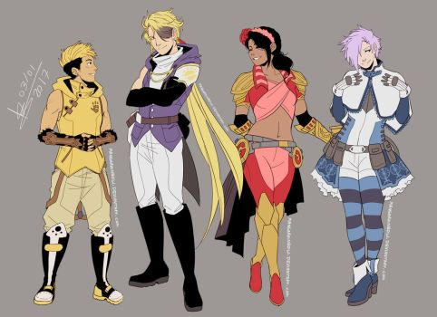 RWBY OCs - Team GOLD - Redesigns by ABD-illustrates