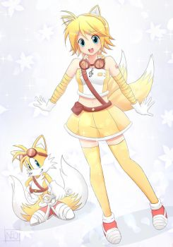 Kagamine Rin and Tails by neotwenty1