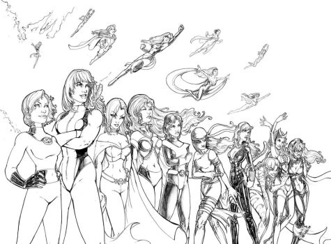 Women of Marvel bw by ComfortLove
