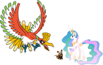 Princess Celestia, Shifu and Ho-Oh by iamnater1225