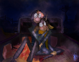 Autumn Boyfriends:Watching a movie at the drive-in by CraftyPoptropican