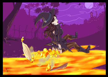 Commission .: Witch Racer... with fire spells :. by Icandoittoo