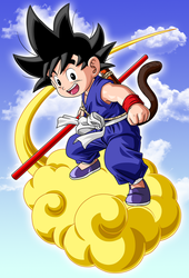 Goku and Flying Nimbus. by Link-LeoB