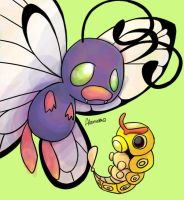 Shiny Butterfree and Caterpie