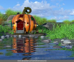 Free stock background:  Pumpkin House near stream by ArtReferenceSource