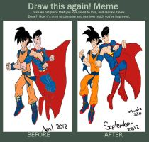 draw this again: goku vs superman by ultimatejulio