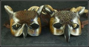 Great Horned Owl leather masks by EirewolfCreations