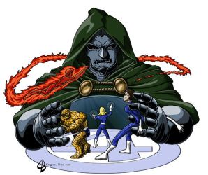 Fantastic Four vs Dr. Doom by gritchu