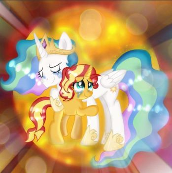 Sunset and Celestia's Sweet Reunion(With Edits) by DoraeArtDreams-Aspy