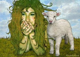 Dryad Fairy + her Little Lamb by enchantedgal