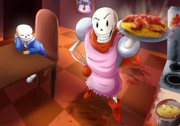 [Commission] Undertale: Papyrus' Grand Spaghetti by DragonBreath75