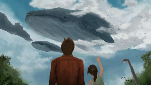 Whales in the sky by Neruull