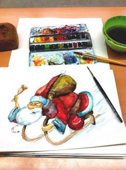 Water color painting: Santa Claus by sodeikat