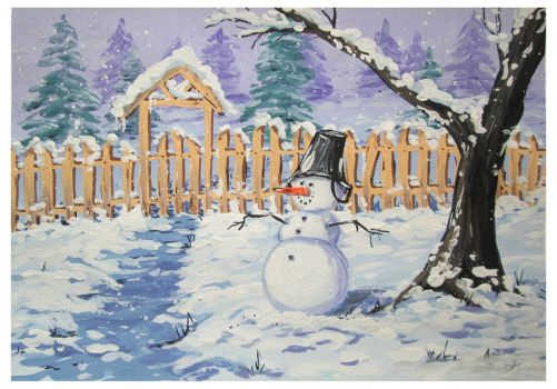 Winter landscape with snowman by Alena-48