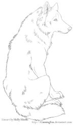 Free Lineart - Sitting chill wolf by Bear-hybrid