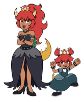 Bowsette and Bowsette Jr. by TheCheeseburger