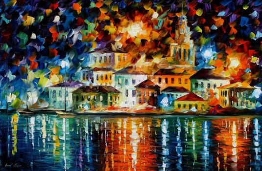 Night Harbor by Leonid Afremov by Leonidafremov