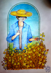 Boy with a Forsythia shrub by ViriTiti