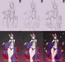Shuten Doji Process by blackrabbitartworks