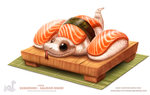 Daily Paint 1743# Sushinoko - Salmon Nigiri by Cryptid-Creations