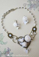 White Flower Heart Jewelry set by AlterDoll