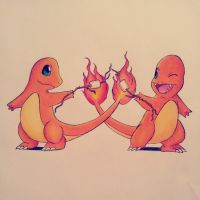Charmander roasting marshmallows by Abz-Art