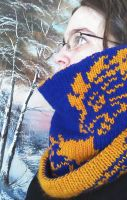 Winter's Ward Double-Knit Dragon Cowl by aetherfang