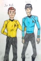 Kirk and Spock, Albert Barille Style by Kuromizuri2