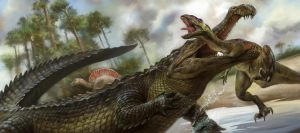 Sarcosuchus and Prey by EldarZakirov