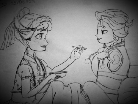 Frozen Fever - Drew by my 8 years old daughter by emisnowake