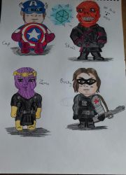 Captain America chibis sketches by Laineyfantasy