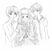 S.A- Jun, Megumi + Ryuu Sketch by mallowmuffin