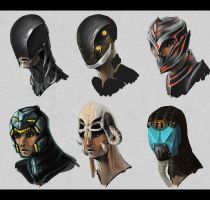 Six helmets by Fenrir--the-2nd