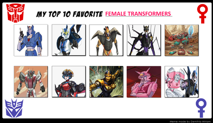 Jefimus Top 10 female transformers by JefimusPrime
