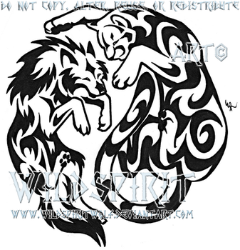 Wolf And Cougar YinYang Tattoo by WildSpiritWolf