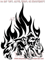 Determined Flame Wolf Tattoo by WildSpiritWolf