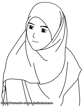 #18 LineArt Hijab Girl by 06-06pm