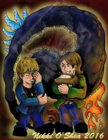 Supernatural Chibi Dean and Sam Face the Darkness by DragonPress