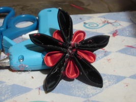 Black Red Star Flower Kanzashi by PastryStitches