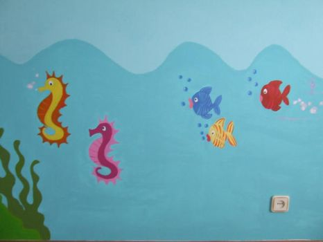 Sea horses and colored fish by umquartodesonho
