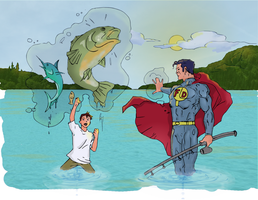Superhero levitating fish (colored) by electronicdave