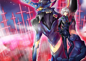 FEAR [Evangelion Q Fanart] Kaworu and EVA mark 6 by HayleyFeatRuki