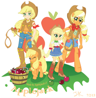 Applejack all Versions cover! by Arteses-Canvas
