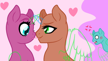 (Gay added) Jealousy and Pocky - Pony Base 21 by Arxielle