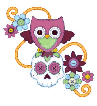 Tattoo Design - Owls, Buttons, and Sugar Skulls! by Shira-chan